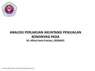 ANALISIS PERLAKUAN AKUNTANSI PENJUALAN KONSINYASI PADA M. Alfhat Hario Pratisto, 20204655