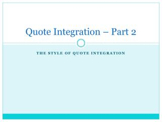 Quote Integration – Part 2