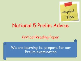 National 5 Prelim Advice