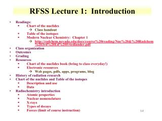 RFSS Lecture 1:  Introduction