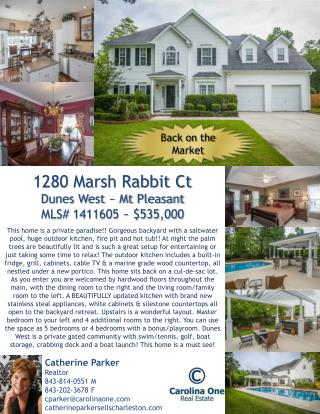 1280 Marsh Rabbit Ct Dunes West ~ Mt Pleasant MLS# 1411605 ~ $535,000