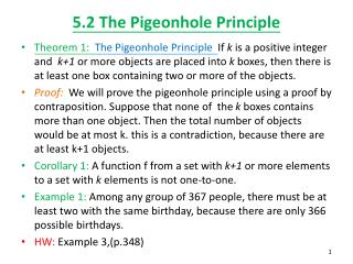 5.2 The Pigeonhole Principle