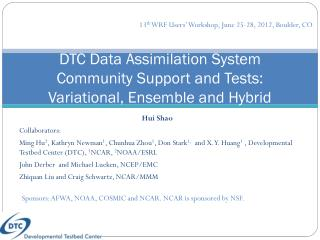 DTC  Data Assimilation System  Community  Support and Tests:  Variational , Ensemble and Hybrid
