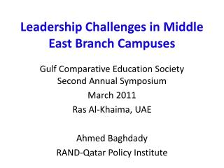 Leadership Challenges in Middle East Branch Campuses