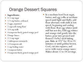 Orange DessertSquares