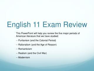 English 11 Exam Review