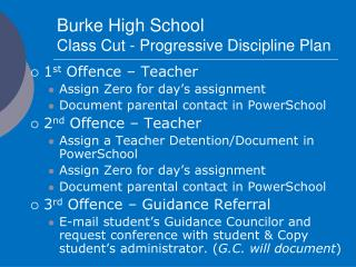 Burke High School Class Cut - Progressive Discipline Plan