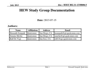 HEW Study Group Documentation