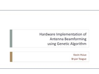 Hardware Implementation of  Antenna  Beamforming  using Genetic Algorithm
