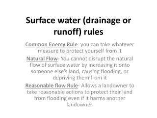 Surface water (drainage or runoff) rules