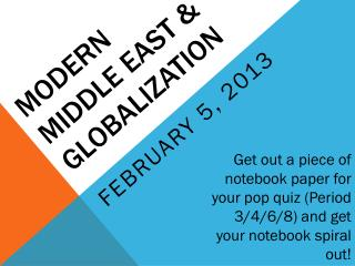 Modern Middle East & Globalization
