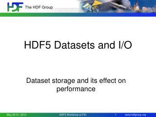 HDF5 Datasets and I/O