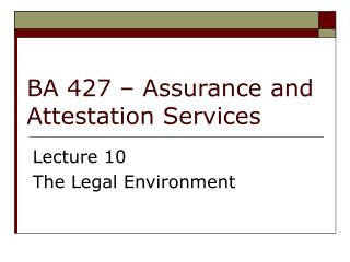 BA 427   Assurance and Attestation Services