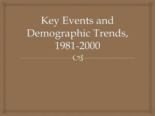Key Events and Demographic Trends, 1981-2000