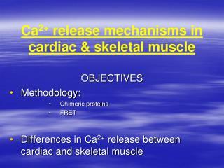 Ca 2+  release mechanisms in cardiac & skeletal muscle