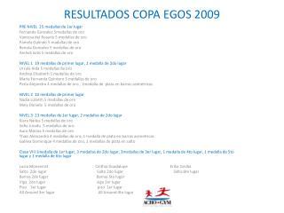 RESULTADOS COPA EGOS 2009