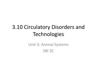 3.10 Circulatory Disorders and Technologies