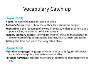 Vocabulary Catch up