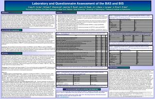 Laboratory and Questionnaire Assessment of the BAS and BIS