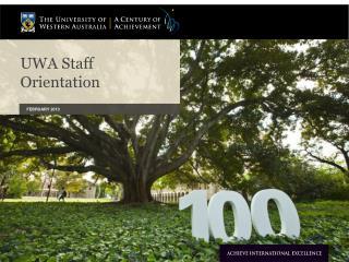 UWA Staff Orientation