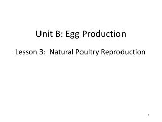 Unit B: Egg Production