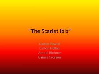 �The Scarlet Ibis�