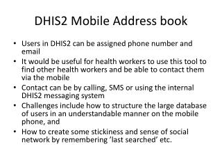 DHIS2 Mobile  Address  book