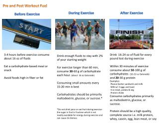 3-4 hours before exercise consume about  16 oz of fluids Eat a carbohydrate-based meal or snack