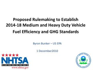 Proposed Rulemaking to Establish  2014-18 Medium and Heavy Duty Vehicle Fuel Efficiency and GHG Standards