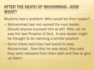 After the Death of Mohammad…Now What?