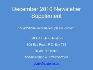 December 2010 Newsletter Supplement
