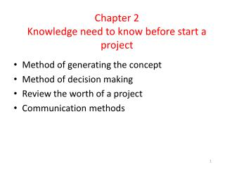 Chapter  2 Knowledge need to know before start a project