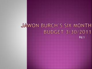 Jawon Burch's Six Month Budget 3/30/2011