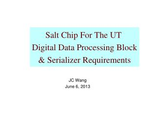 Salt Chip For The UT  Digital Data Processing Block &  Serializer  Requirements