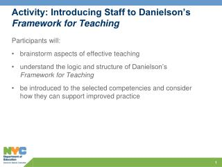 Activity: Introducing Staff to Danielson's  Framework for Teaching