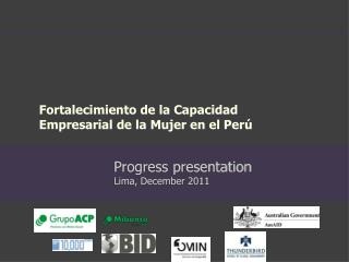 Progress presentation Lima,  December  2011