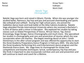 Natalie Vega Choreographer