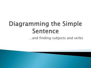 Diagramming the Simple Sentence