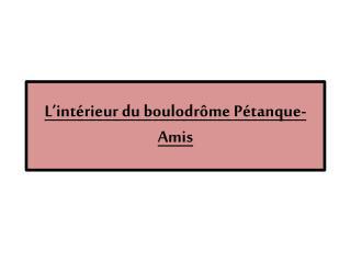 L�int�rieur  du  boulodr�me  P�tanque-Amis