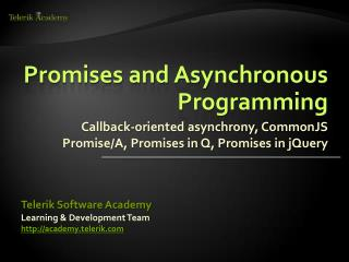 Promises and Asynchronous Programming