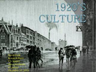 1920's  culture