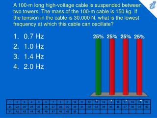A 100-m long high-voltage cable is suspended between two towers. The mass of the 100-m cable is 150 kg. If the tension i