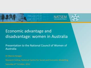 Economic advantage and disadvantage: women in Australia