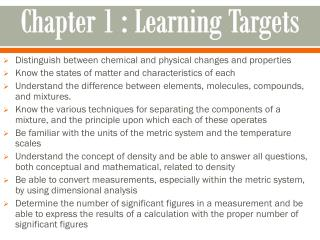 Chapter 1  :  Learning Targets
