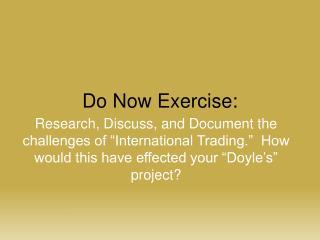 Do Now Exercise: