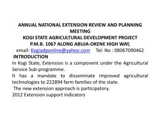 ANNUAL NATIONAL EXTENSION REVIEW AND PLANNING MEETING KOGI STATE AGRICULTURAL DEVELOPMENT PROJECT