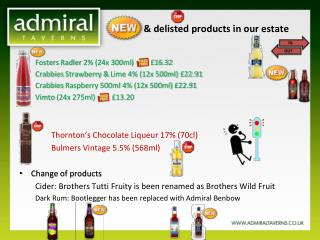 NEW   & delisted products in our estate