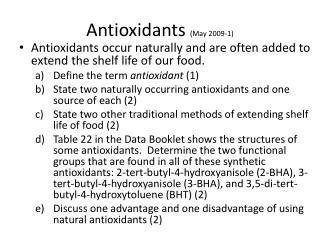 Antioxidants  (May 2009-1)