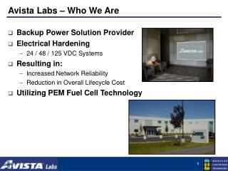 Avista Labs � Who We Are