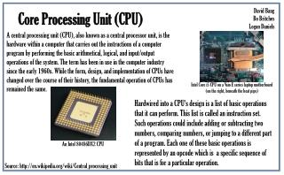 Core Processing Unit  (CPU)